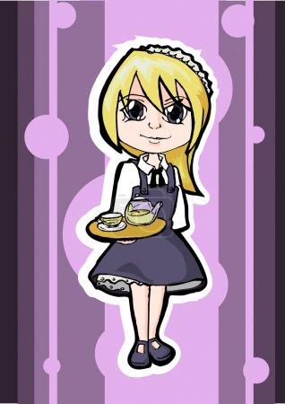 Illustration pour Serveuse blonde, design vectoriel - image libre de droit