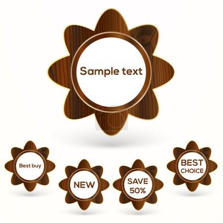 Illustration pour Ensemble vectoriel de badges en bois . - image libre de droit