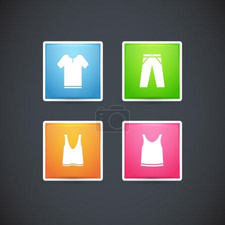 Conjunto de vectores de ropa iconos de colores