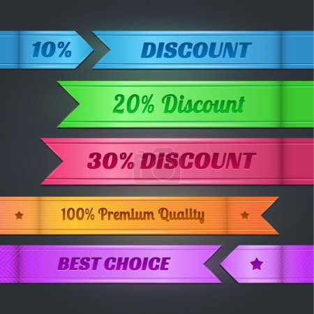 Photo pour Ensemble vectoriel de bannières d'escompte colorées - image libre de droit