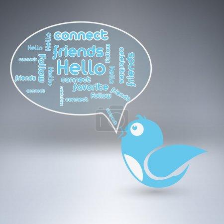Blue bird with speech bubble. Vector illustration.