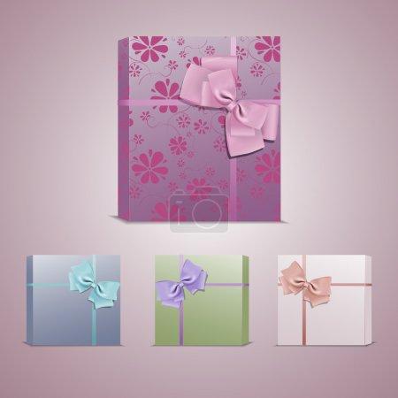 Ensemble de boîtes-cadeaux colorées avec des arcs et des rubans