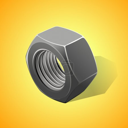 Illustration for Metal nut on a yellow background, vector illustration - Royalty Free Image