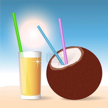 Illustration pour Cocktail de noix de coco. Illustration vectorielle - image libre de droit