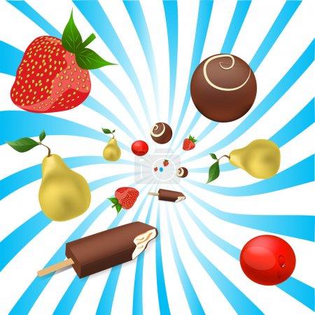 Vector mix of fruits