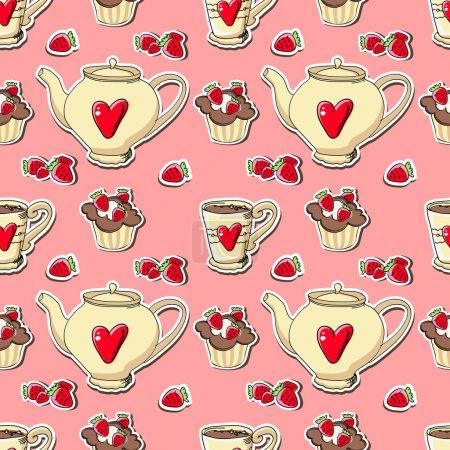 Illustration pour Fond vectoriel avec cupcakes et théières . - image libre de droit