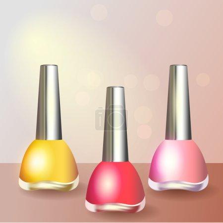 Set of color nail polish
