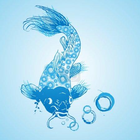 Poisson-chat bleu vecteur, conception vectorielle