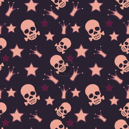 Seamless background with skulls, crowns and stars