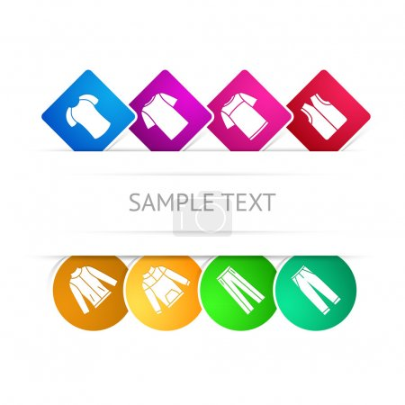 Vector set of clothes colorful icons. Sample text