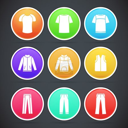 Vector set of clothes colorful icons