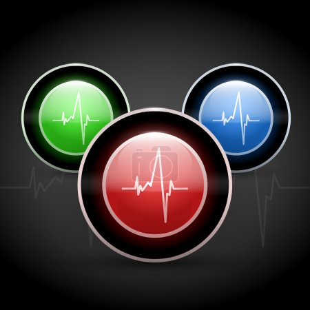 Heart beat on colored round web buttons