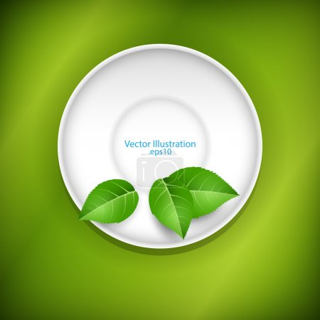 Photo for Green leaves on a saucer. - Royalty Free Image