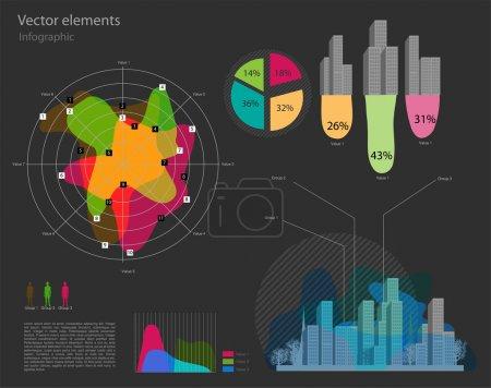 Illustration pour Ensemble d'éléments vectoriels infographiques - image libre de droit