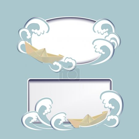 Two vector frames with paper boat and in waves