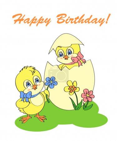 Illustration pour Carte de voeux d'anniversaire avec poulet - image libre de droit