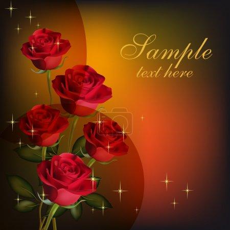 Illustration pour Carte de Saint-Valentin. Beauté roses rouges - image libre de droit