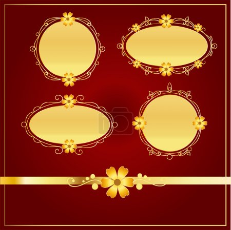 Photo for Vector set of vintage golden frames with flowers - Royalty Free Image