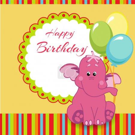 Illustration pour Carte d'anniversaire avec éléphant rose - image libre de droit