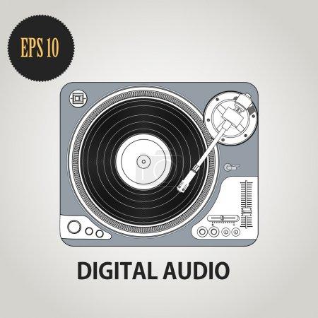 Vector illustration of DJ record player