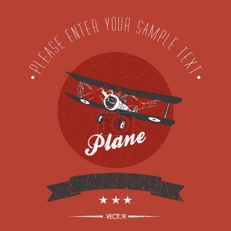 Vector retro biplane card