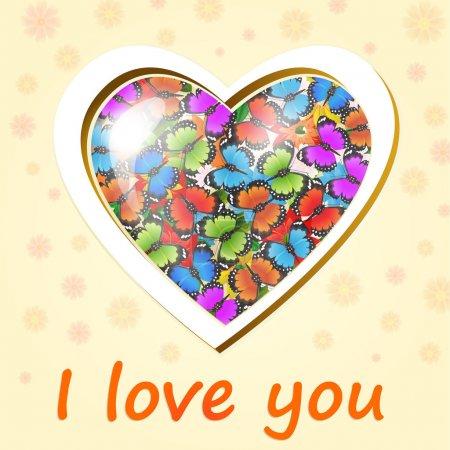 Illustration pour Coeur vectoriel plein de papillons colorés - image libre de droit