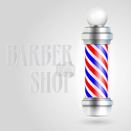Illustration for Barber shop pole with red and blue stripes. - Royalty Free Image