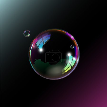 Soap bubbles on black background. Vector illustration.