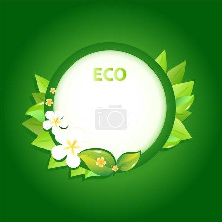 Green leaf frame illustration with flowers