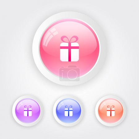 Set of vector color keyboard buttons with gift box sign