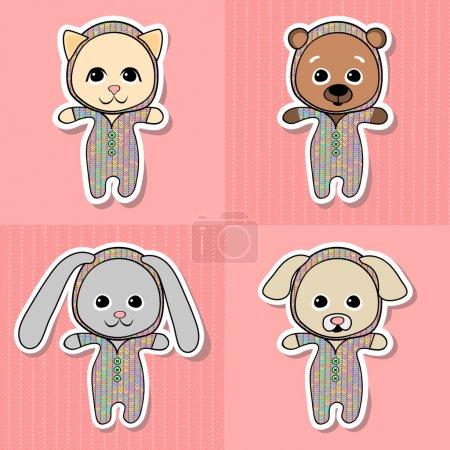 Illustration pour Chat joyeux, ours, cochon, chien, chiot et lapin. Illustration vectorielle, animaux-jouets pour enfants - image libre de droit