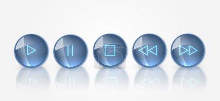 Illustration pour Ensemble vectoriel de boutons multimédias . - image libre de droit