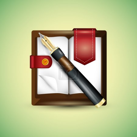 Illustration for Vector fountain pen on notepad - Royalty Free Image