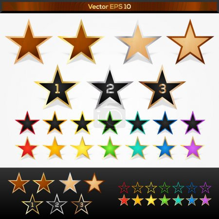 Illustration for Vector set of colorful stars - Royalty Free Image