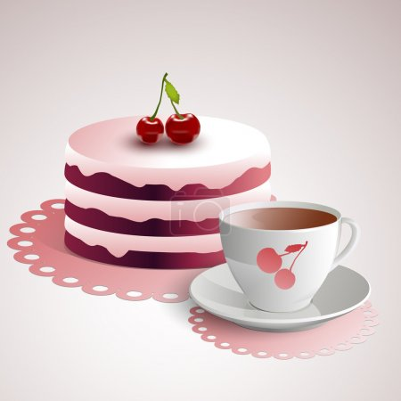 Cup of coffee with a cherry cake