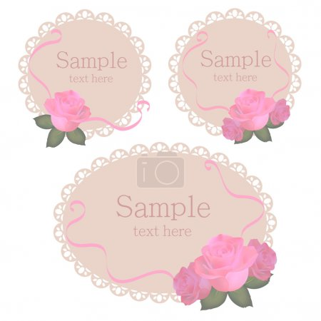 Vector floral lace frames with pink roses