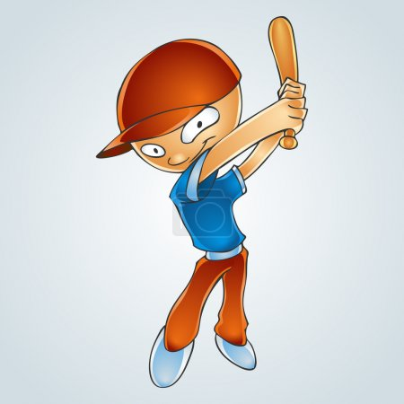 Cartoon boy playing baseball. Vector Illustration