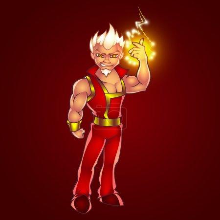 Illustration pour Illustration vectorielle de l'homme dessin animé plein de foudre électrique - image libre de droit