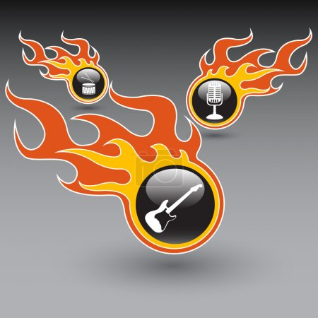 Set of musical instruments in the burning bubbles. Vector illustration