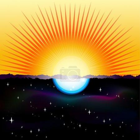 Illustration pour Illustration vectorielle d'un écran partagé montrant le Soleil et la Lune - image libre de droit