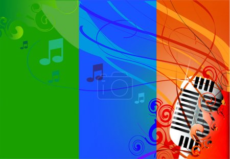 Vector Classic Microphone, multicolored background & notes.
