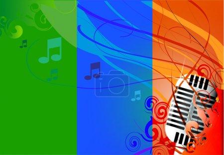 Vector Classic Micrófono, fondo multicolor y notas .