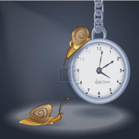 Concept vector illustration of clock and two snails