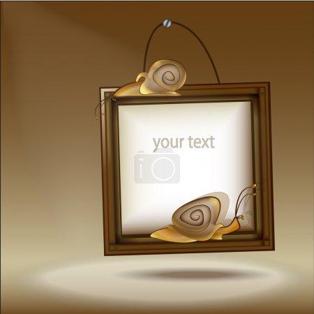 Illustration pour Cadre en bois avec escargot - illustration vectorielle - image libre de droit