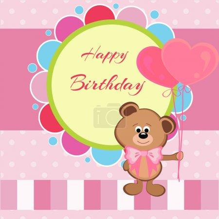 Carte d'anniversaire avec ours en peluche et ballons en forme de coeur