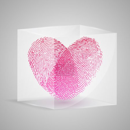 Fingerprint in the form of heart in glass box. Vector illustration.