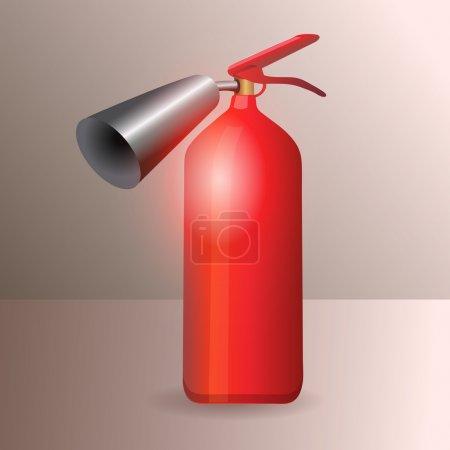 Illustration pour Extincteur brillant en métal rouge - illustration vectorielle - image libre de droit