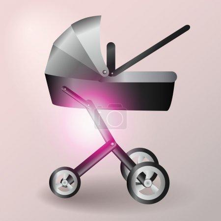 Illustration pour Illustration vectorielle poussette bébé - image libre de droit