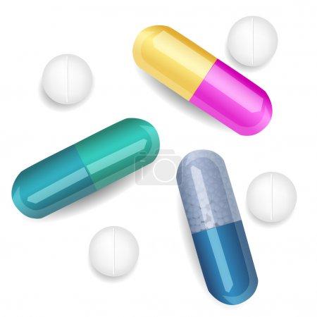 Illustration pour Ensemble de différentes pilules et capsules - image libre de droit