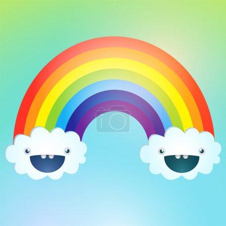 symbole vectoriel de l'arc-en-ciel et des nuages dans le ciel